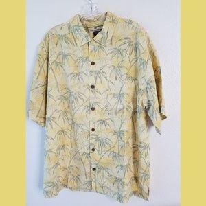Tommy Bahama Silk SS Yellow Tropical Print Shirt